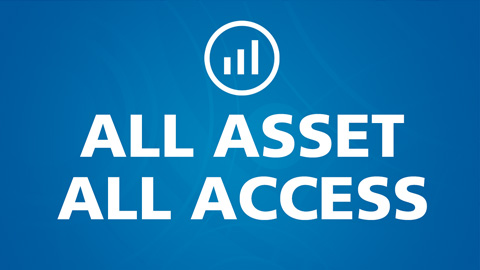 Text image reading All Asset All Access against a blue background